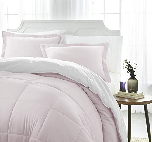 ienjoy Home Collection Down Alternative Reversible Comforter Set -Queen -Blush/White