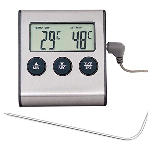 Lantelme Termómetro Digital para Horno con sonda Resistente hasta 250 °C, con Funciones de Alarma...