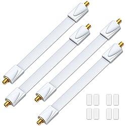 deleyCON 4x Fensterdurchführungen SAT Kabel 17cm flexibel / 26cm Länge / Kupplung Fenster & Türen vergoldet extrem flach geschirmt Klebepads - Weiß