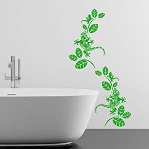 Patterned Geckos with Leaves 2 Pack Wall Sticker - Art Vinyl Décor Stickers, Kitchen, Bedroom, Living Room, Easy to Apply, Free Applicator, Easy Peel - (PLEASE CHOOSE YOUR SIZE & COLOUR USING DROP DOWN MENU) - by Rubybloom Designs