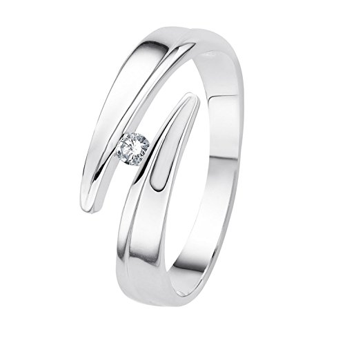 Diamond Line Damen-Ring 375er Weißgold 1 Diamant ca. 0,05 ct. (2 Karat Diamant Solitaire Ring)