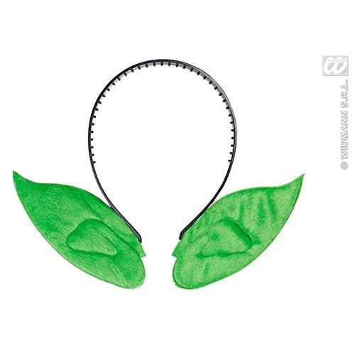 Widmann 8005A, Haarreif mit grünen Spitzohren für Hexe, Kobold, Magier, Zauberer, für Kinder bis Erwachsene (Erkennbar Kostüme Halloween)