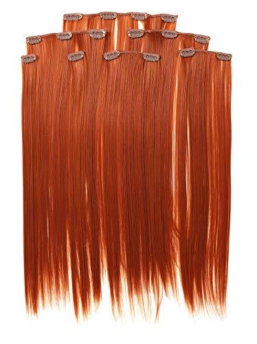 Prettyland 7-teilg SET Statik-frei Clip-In 50cm glatt lang-Haar strähnen Haarteil Haarverlängerung orange Kupfer-Rot R01 (Extensions Rote Haar)