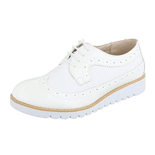 r Damen-Schuhe Oxford Schnürer Schnürsenkel Halbschuhe Weiß, Gr 39, 62021- ()