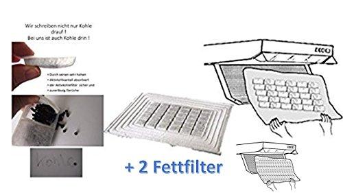 Fettfilter-set (Universal Aktivkohlefilter / Aktiv-Kohlefilter für jede Dunstabzugshaube geeignet- zuschneidbar - 47x57cm - Set Fettfilter + Aktivkohle für geruchsfreie Küche)