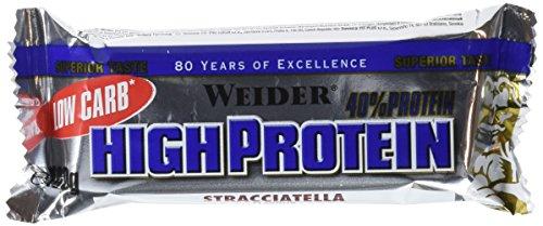Weider 40% Low Carb Barritas de Proteínas Stracciatella - 2 Paquetes de 100 gr - Total: 200 gr