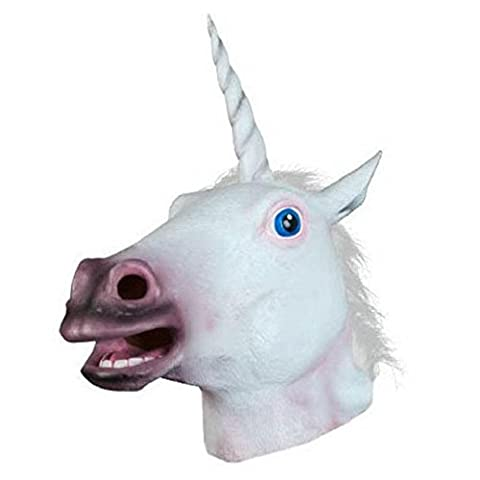 Fami Masken Halloween Unicorn Pferdekopf Cosplay Kostüm Party Latex Tiere (Kostüm D'halloween Fille)