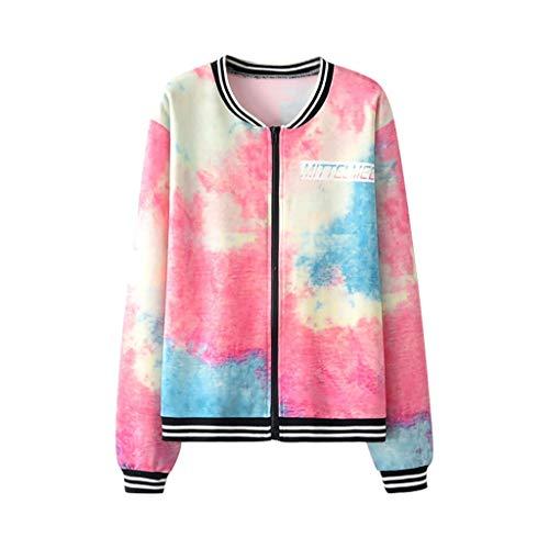 Damen Tie Dye 3D Druck Sweatshirt Jacket Outwear Mit Reißverschluss Taschen Sport Mantel - Junioren Tie Dye