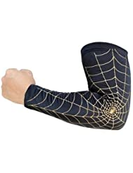 Anti UV Codera schuetzer para adultos Deportes brazo Schoner Sleeves–Negro con Golden XL (único Loaded)