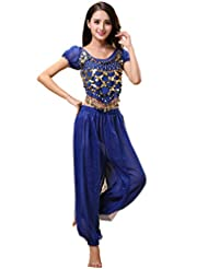 77fb30a3a Bollywood Indian Princess Theme Belly Dance 2-Piece Costume Set Outfit for Women  Girls with