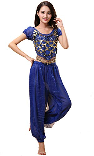 Grouptap Bollywood Indian Princess Theme Bauchtanz 2-teiliges Kostüm Set Outfit für Frauen Mädchen mit Oberteil und Hose (150-170cm, 30-60kg) (Blau) (Mädchen Bollywood Prinzessin Kostüm)