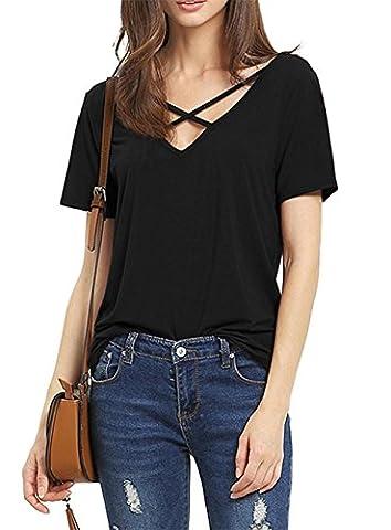 Damen T-Shirt Kurzarm Bluse Damen Elegant Sexy V-Ausschnitt mit Schnürung