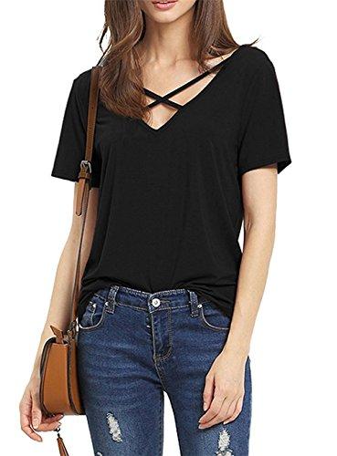 Damen T-Shirt Kurzarm Bluse Damen Elegant Sexy V-Ausschnitt mit Schnürung Oberteil mit Schnürung Vorne (XL, (Outfits Sexy Damen)