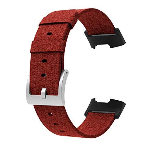 Tianya Roter Gummi Kopf Gewebt Leinwand Strap Ersatz Gewebt Leinwand Stoff Band Armband Für Fitbit Charge 3
