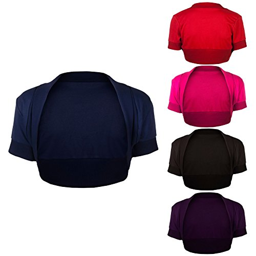 Womens Party Casual Short Sleeves Bolero Cropped Top Ladies Evening Cocktail Open Front Cardi Cardigan Mini Shrug