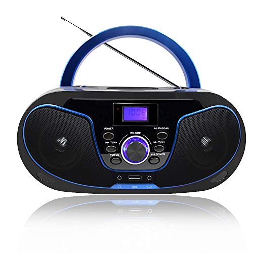 LONPOO Tragbarer CD-Player für Kinder Stereo Boombox Bluetooth mit UKW-Radio, Port für USB/Aux-in/Kopfhörer, Batterie/Netzbetrieb (Blau + schwarz)