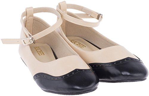 Vintage Ankle BUDAPESTER Brogue RIEMCHEN Retro Flats Ballerinas Rockabilly -