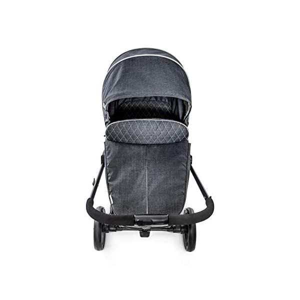 Hauck Pacific 4 Shop N Drive, Lightweight Pushchair Set with Group 0 Car Seat, Carrycot Convertible to Reversible Seat, Footmuff, Large Wheels, From Birth to 25 kg, Melange Charcoal Hauck  7