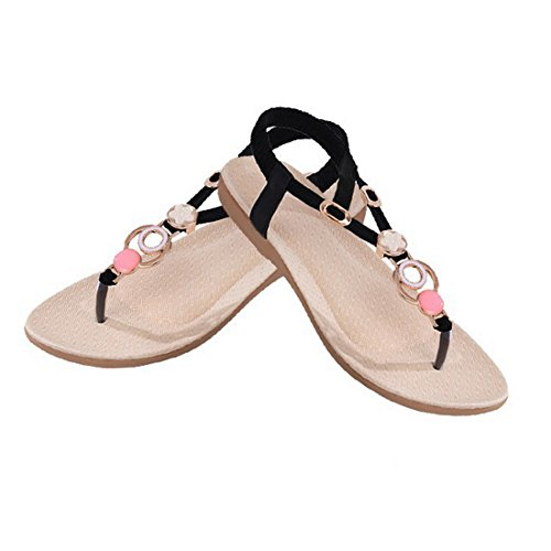 Vertvie Damen Sommer Schuhe Strandschuhe Offene T-Spangen Sandalen Knöchelriemchen Sandalen mit Strass Zehentrenner Flip Flop Hausschuhe Schwarz 1