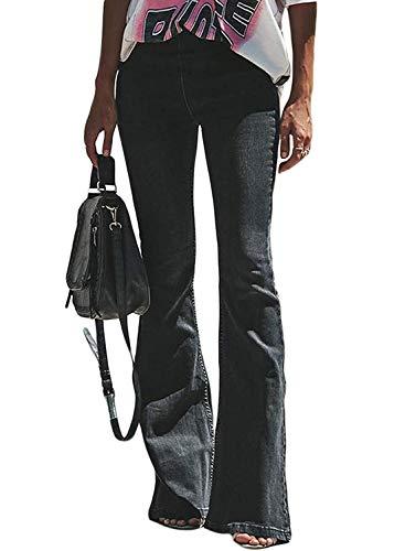 Minetom Schlaghosen Damen Jeans Hosen Stretch Skinny Destroyed Style Denim Jeanshose Retro Hohe Taille Flared Pants Schwarz XXL High Rise Bootcut Jeans