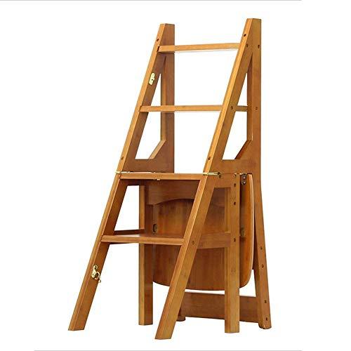 QQXX Taburete de Escalera Plegable De Madera Maciza Deformable Antideslizante Multifunción Simple, Escalera de 4 peldaños, 4 Colores de Doble Uso (Color: Light Walnut, Tamaño: 36.5x37.5x90cm)