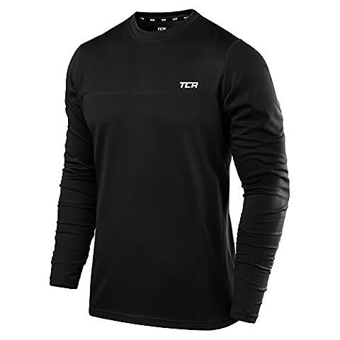 Men's TCA Element Long Sleeve Crew Neck Running Top - Black L