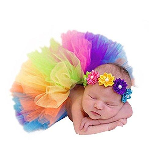 binlunnu Neugeborene Baby Fotografie Requisiten Boy Girl Crochet Kostüm Outfits Tutu Röcke Blume Kopfschmuck