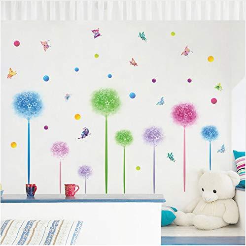 HAJKSDS Wandbild Wandaufkleber Fantasie Blumen Löwenzahn Schmetterling Flecken Wandaufkleber Für Kinder Zimmer Küche Bad Tapete Selbstklebende Folie