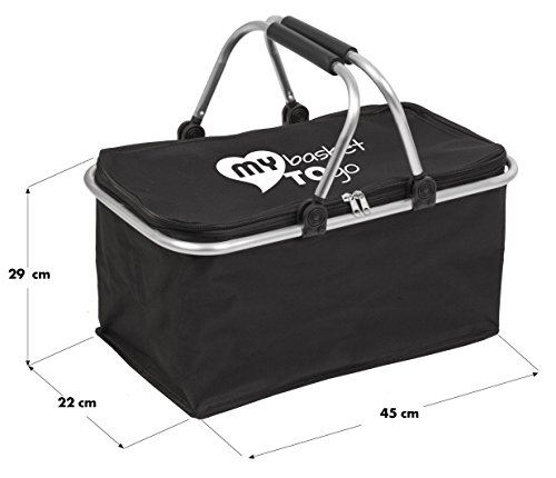 Portable folding shopping carry-bag with lid | foldable picnic hamper | MY BASKET TO GO | collapsible laundry and storage box | comfortable handle | large, light-weight, closable | BLACK
