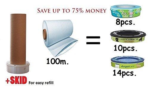 Preisvergleich Produktbild Refill Säcke Folie für Sangenic/Angelcare Kassetten (100m. + SKID)