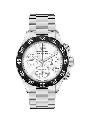 Claude Bernard Women's 10210 3 AIN Aquarider Silver Chronograph Rotating Bezel Steel Watch