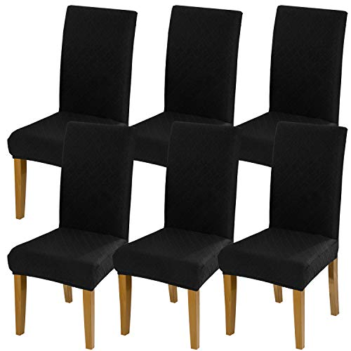 YISUN Universal Stretch Stuhlhussen 4er 6er Set Stuhlbezug für Stuhl Esszimmer (6er Set, Quadratisch schwarz)