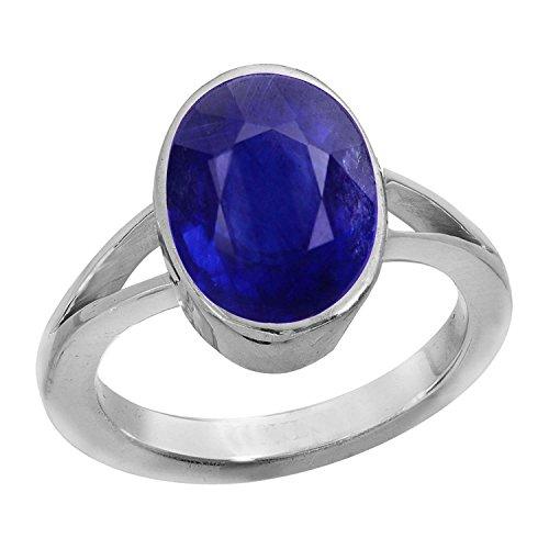 stonefound Certified Crt 3.90 - 4.25 Ratti Blue Sapphire Ring ( Nilam / Neelam stone Silver Ring ) 100% Original AAA Quality Gemstone