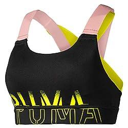 PUMA Damen Feel It Bra M Sport BH, Black-Bridal Rose-Yellow Alert, L