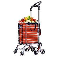 TWGDH Large Capacity Stair Climbing Shopping Cart Bag Lightweight Luggage Grocery Trolley Folding 8 Wheel Multifunctional Utility Trolley,Orange