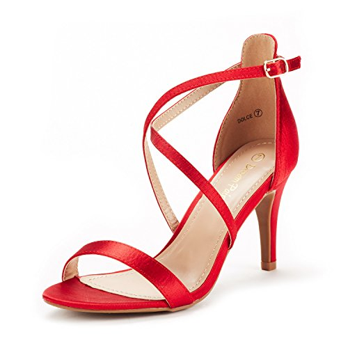 men Sandalen mit Mode Stilettos Offene Zehen Ferse Rot Satin 39.5 EU ()