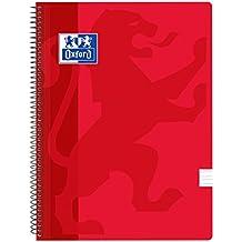 Oxford Classic - Pack de 5 cuadernos, tapa plástico, color rojo