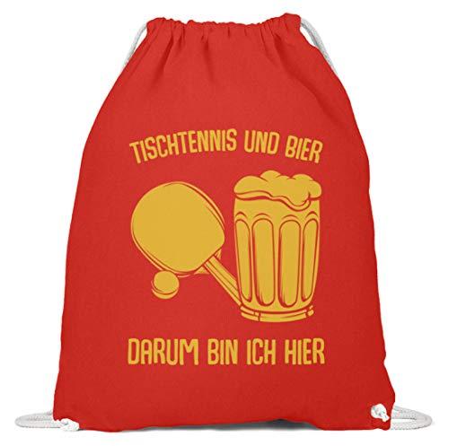 Kleidungskulisse Tischtennis Und Bier Darum Bin Ich Hier Bier Sport Party Feiern Trinkspiele Lustig - Baumwoll Gymsac -37cm-46cm-Hellrot
