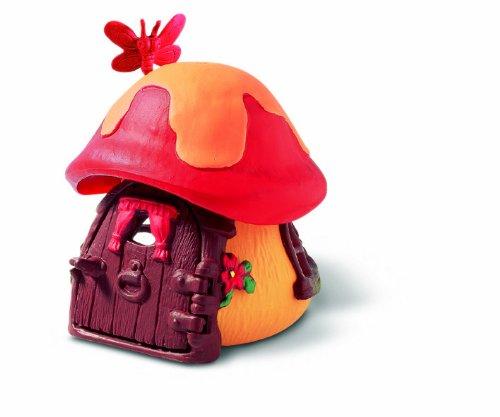 Schleich 49011 - Figura/ miniatura Pitufo casa pequeña, de color rojo - Pequeña casa de campo de setas - Casa de campo en forma de hongo en Red - Mariposa roja en la parte superior de la cabaña - Brillantemente Piaintd - Diseño altamente detallado