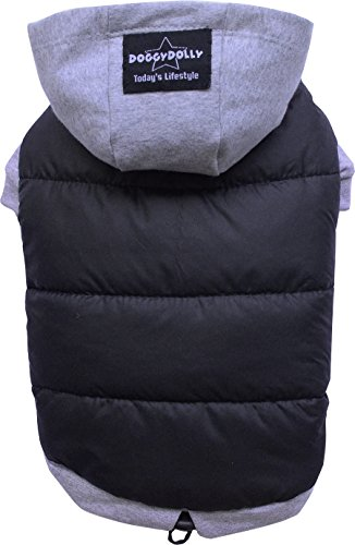 Doggydolly Winter Dog Cane Cappotto/Giacca con Cappuccio per Carlino, Bulldog Francese, Nero-Grigio, Large