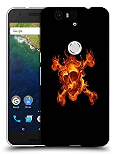 Snoogg Furious Skull Designer Protective Back Case Cover For Huawei Nexus 6P