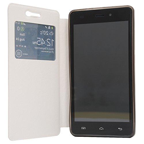 Doogee X5 X5C X5 PRO X5S Mit Silikon Etui Pu Leder Kunstleder Flip Cover Smartphone Handy Tasche Hülle Case Handytasche Handyhülle Schutzhülle Etui Handyhalter Handyhalterung Stander (Weiß)