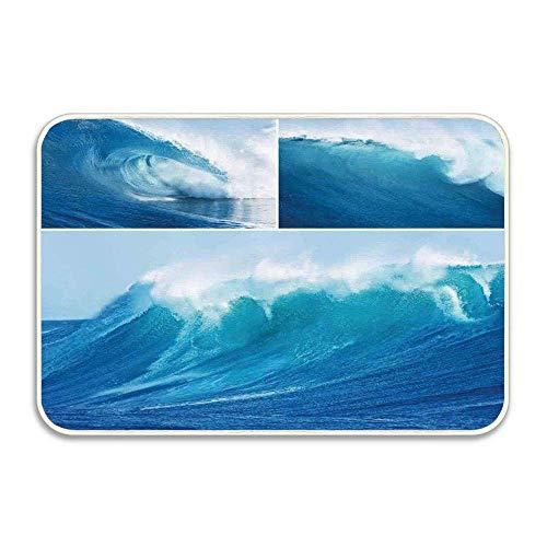 hdyefe Surf Collage von Giant Sea Wave Maschine waschbar Matte für Bad, Küche, Schlafzimmer, Büro, Kinderzimmer, Innen Oudoor Innen 16 x 24 Zoll fein 15168
