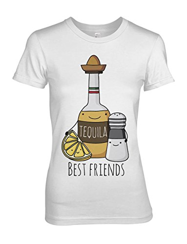 Best Friends Tequila Salt Lemon Party Komisch Bff Damen T-Shirt Weiß Medium (T-shirt Baby-womens Fitted)