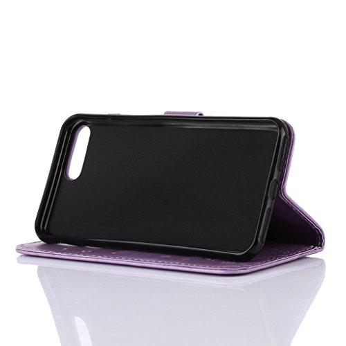 """Trumpshop Case Coque Housse Etui de Protection pour Apple iPhone 6/6s Plus 5.5"""" + Noir + Ultra Mince Portefeuille PU Cuir Avec Fonction Support Anti-Choc Anti-Rayures Violet Clair"""