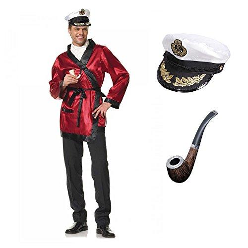 shoperama 3-teiliges Hugh HEFNER Herren Kostüm von Leg Avenue Gr. L Morgenmantel Mütze Bademantel Pfeife