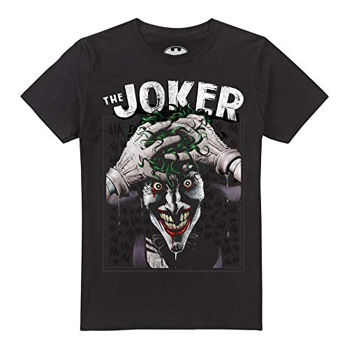 DC Comics Crazed Joker, Camiseta para Hombre, Negro (Black Blk), Small
