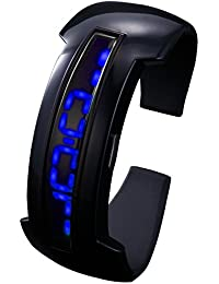 HOTARU Montre Homme Femme LED Bleu Digital Date Bracelet Silicone Noir Sport HTR206-S