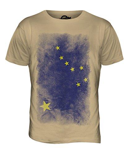 CandyMix Bundesstaat Alaska Verblichen Flagge Herren T Shirt Sand