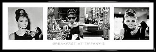 1art1 Frühstück Bei Tiffany Midi-Poster und Kunststoff-Rahmen - Audrey Hepburn, Triptychon (91 x 30cm)